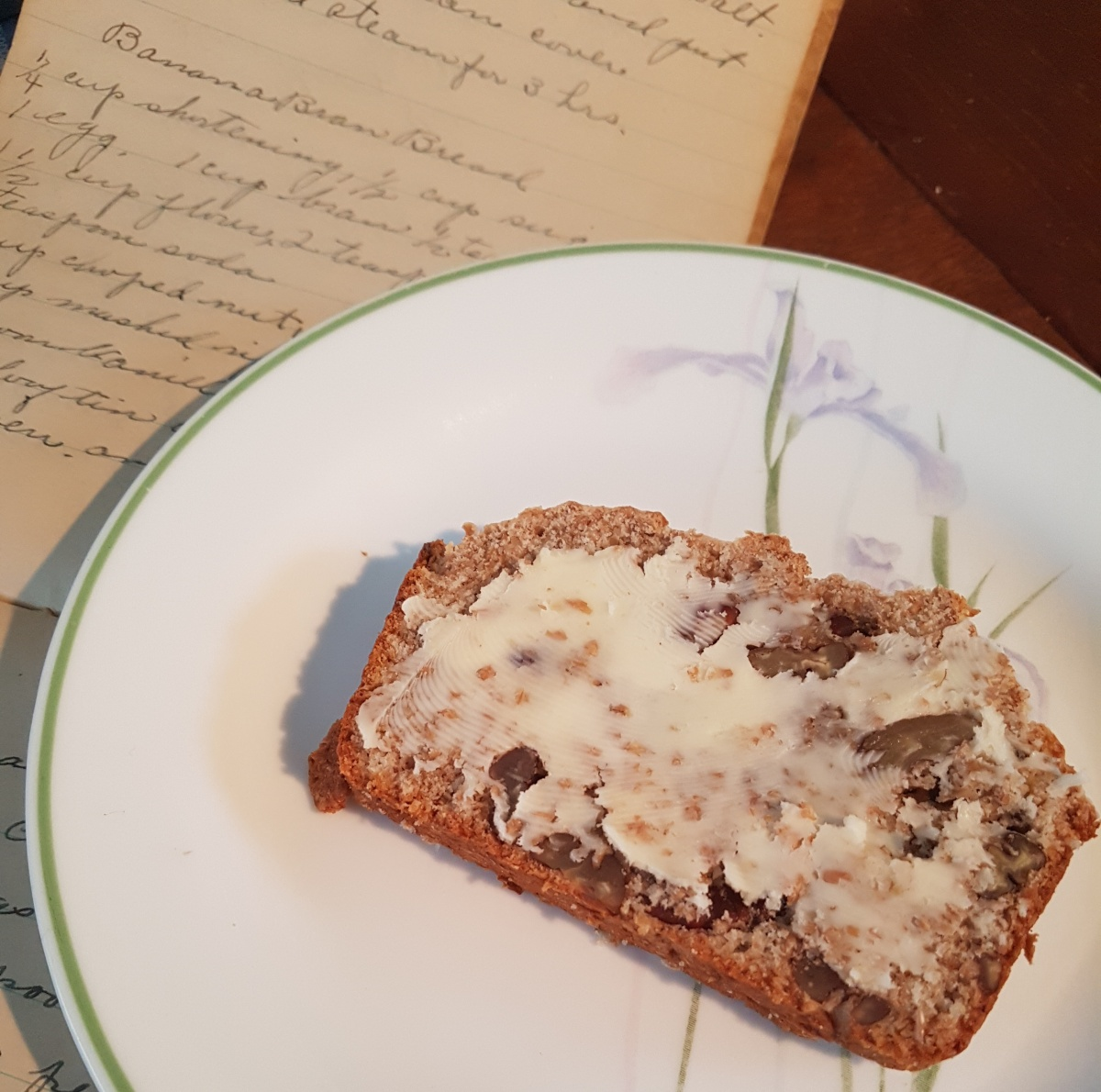 Banana Bran Bread Vintage Cookbook Shelf